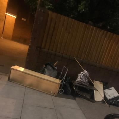 Flytipping needs clearing.  -Jack Watts Estate, Clapton, London E5 9PW, UK