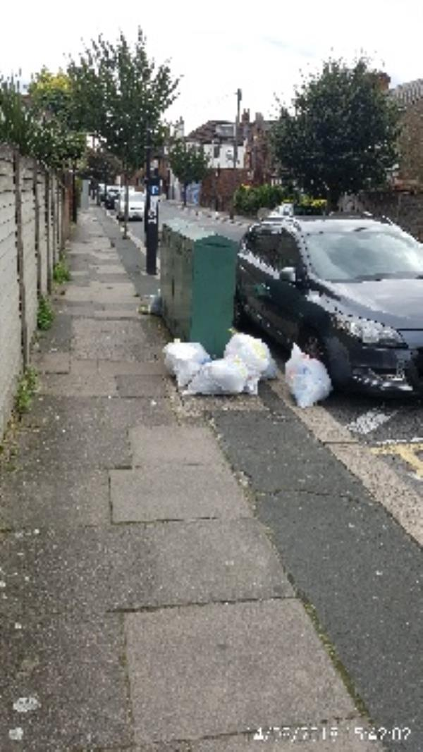 dumped bags of household waste. junction of Eldon Rd N22 and Granville rd n22-79 Granville Rd, London N22 5LP, UK