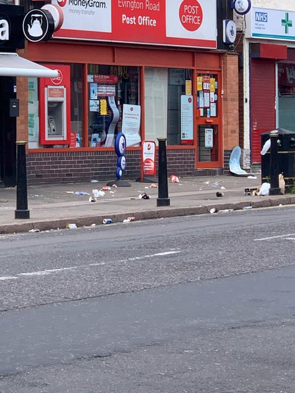 Excessive litter on a continual basis from food outlets especially tea shop. This is not a one off and is repeat offender. Often teacups are left in drive walls, and littered into driveways that are left behind by consumers who also block residential driveways.  Often is the case where drivers and passengers purchase their food, eat in the car and dump onto the road-1 Conway Road, Leicester, LE2 1QN