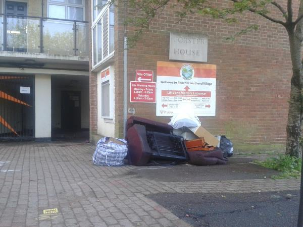 Please clear bulky waste from outside block-Forster House Whitefoot Lane, Bromley, BR1 5SD