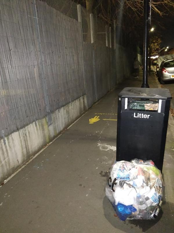 Uncollected bags of Rubbish on the pavement across the road from 64; Buxton Road E15-76a Buxton Road, London, E15 1QU