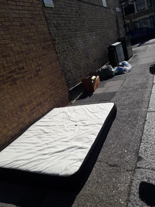 brown wardrobe, cardboard box, 1c mattress and bags of clothing  image 1-53 Whyteville Road, Upton Park, E7 9LS