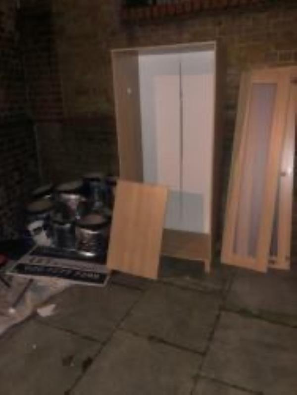 Junction of Edric Road. Please clear flytip-85 Monson Road, New Cross Gate, SE14 5EH