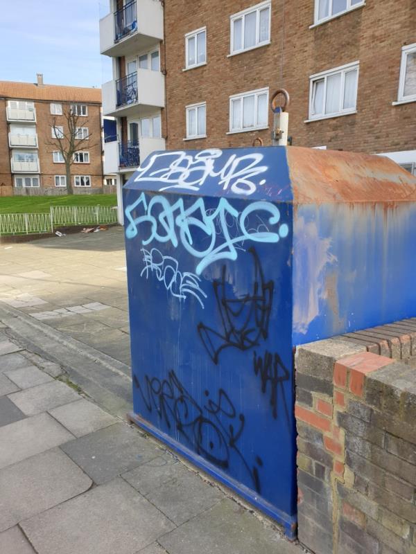 heavily graffiti on recycling bin on woodvale.-320 Wood Vale, London, SE23 3DZ