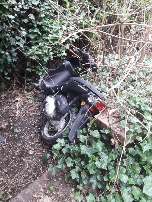 I would like to report an abandoned Moped at the back garden from Lobuck Street 1=31.  See attached photo.   kind regards. -19 Lubbock Street, New Cross Gate, SE14 5HU