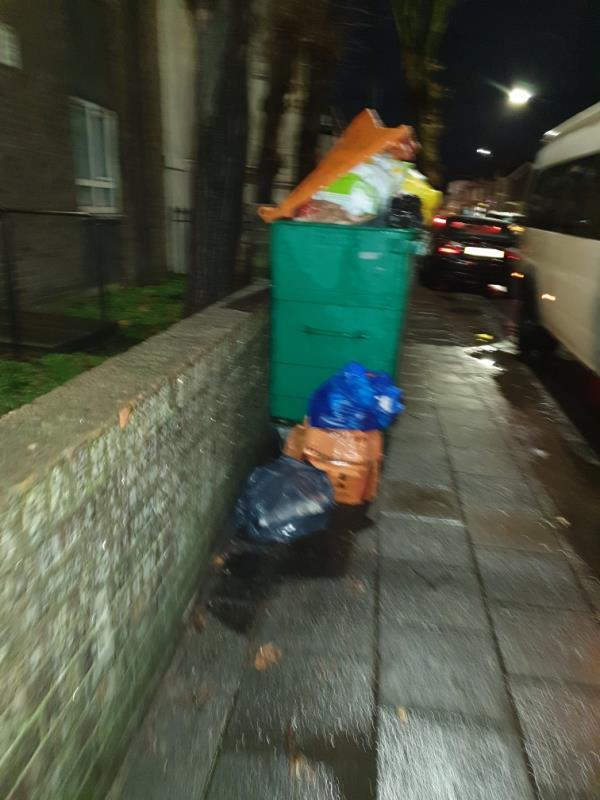 multiple bags and overflowing communal bin-24b Stopford Road, London, E13 0LZ