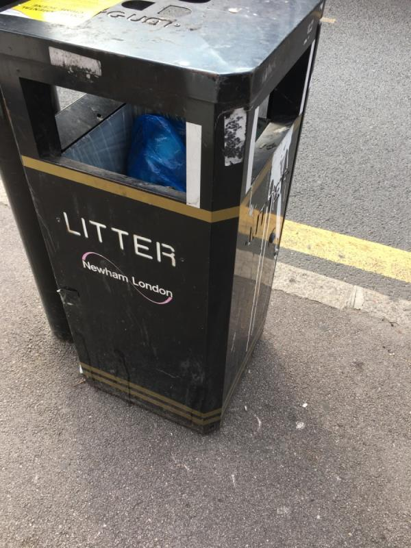 Bin over flowing -Heron House Heigham Road, East Ham, E6 2JG