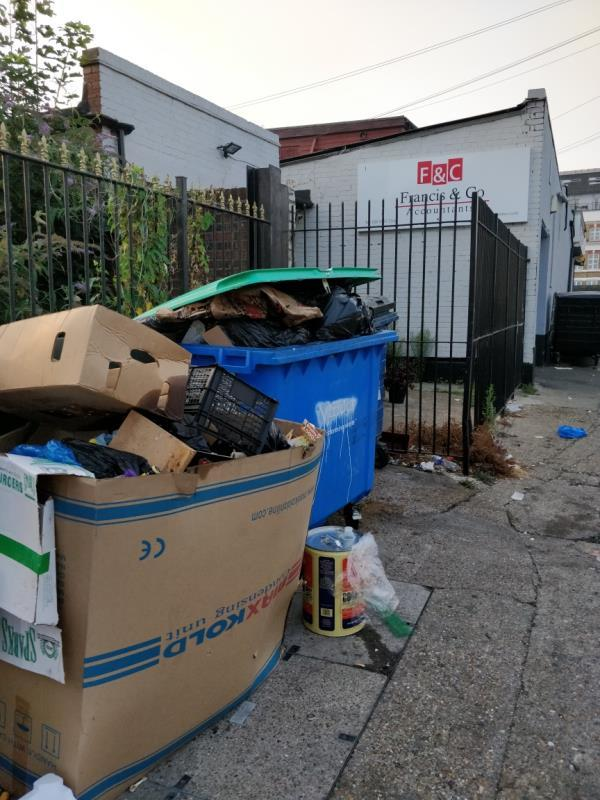 Dumped cardboard boxes and oil container beside 1a Francis Street off Leytonstone Road-23-25 Leytonstone Road, London, E15 1JA