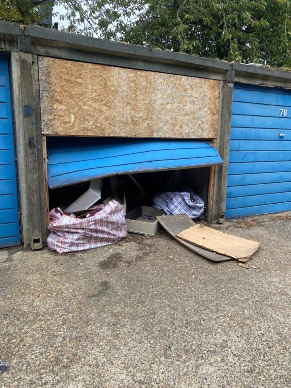 Dumped, aren't these garages meant to be knocked down by now due to danger ? -11 Bothwell Close, Canning Town, E16 1EP