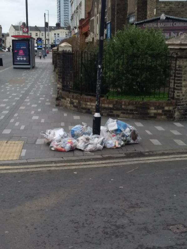 Bin Bags and Litter left at this location-1f Grove Crescent Road, London, E15 1EN