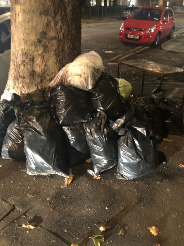 Builders waste and furnitaire dumped by tree  image 1-103 Lawrence Road, London, N15 5AD