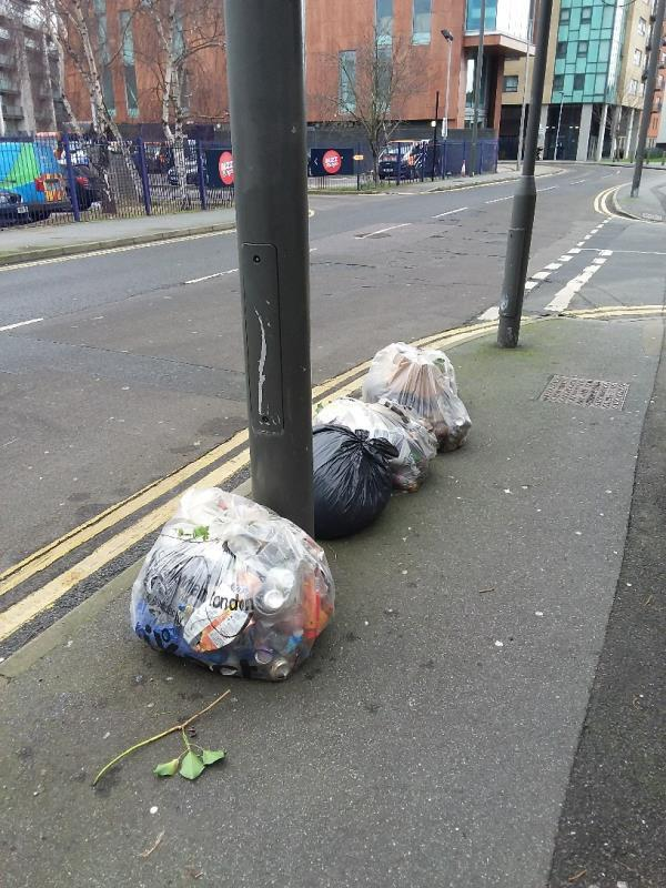 Litter and Bin Bags left at this location-339 High St, London E15 2TF, UK