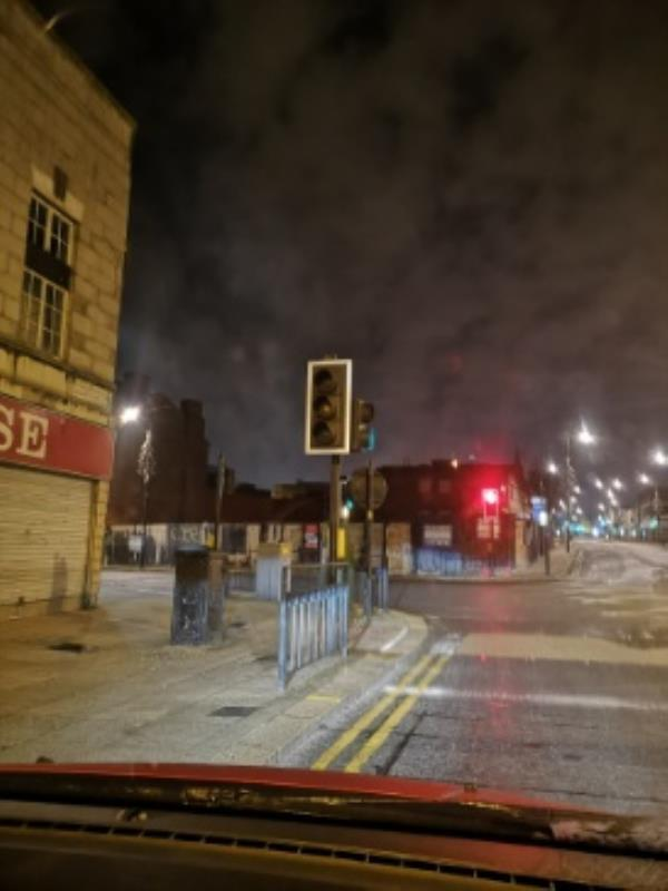 Red bulb on traffic light not working-85 Worcester Street, Wolverhampton, WV1 3PJ