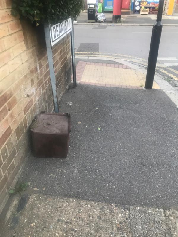 Box dumped @. Junction with Dean st-57a Field Road, London, E7 9DN
