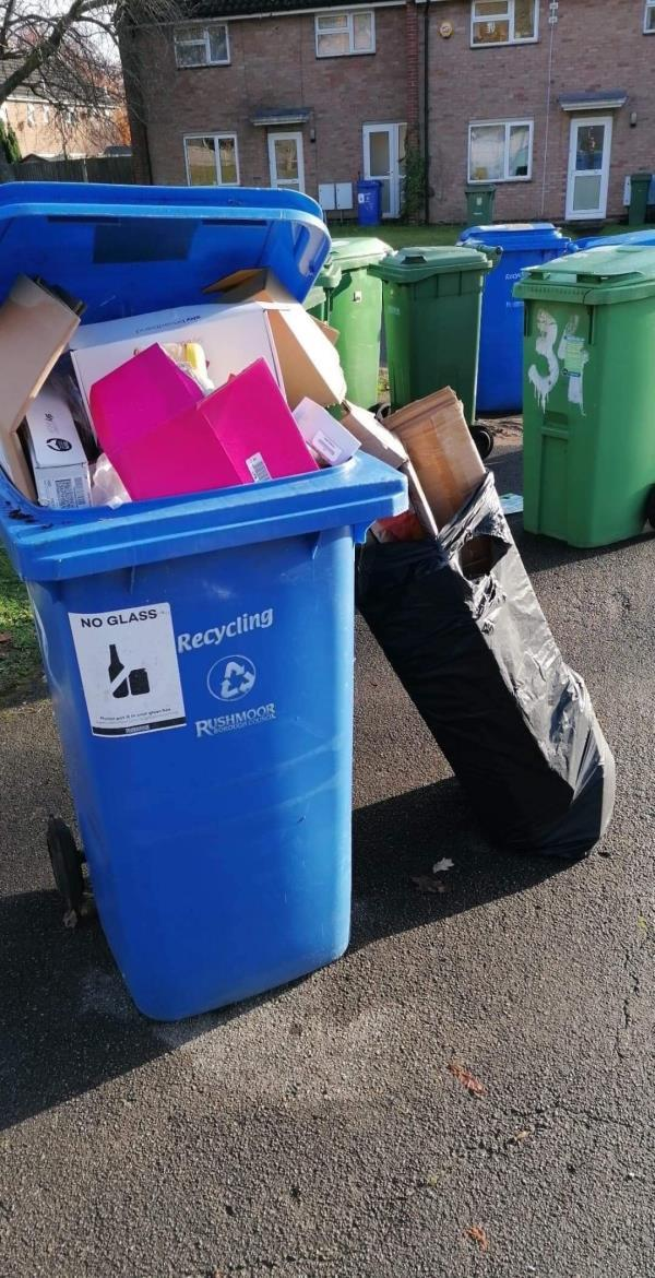 Hi I walk via this way to the school, there is a lot of bins and rubbish on this corner but one of the full bins (that were emptied yesterday) caught my eye. It had a post code from my road so I looked into it more and one of my neighbours has dumped their rubbish in someone's bin and in a bin bag next to the bin. I live on field stores approach so this person has gone out of their way to dump their rubbish. It will only let me upload one image but I have another couple wirh their details. -41 Alamein Road, Aldershot, GU11 1QX