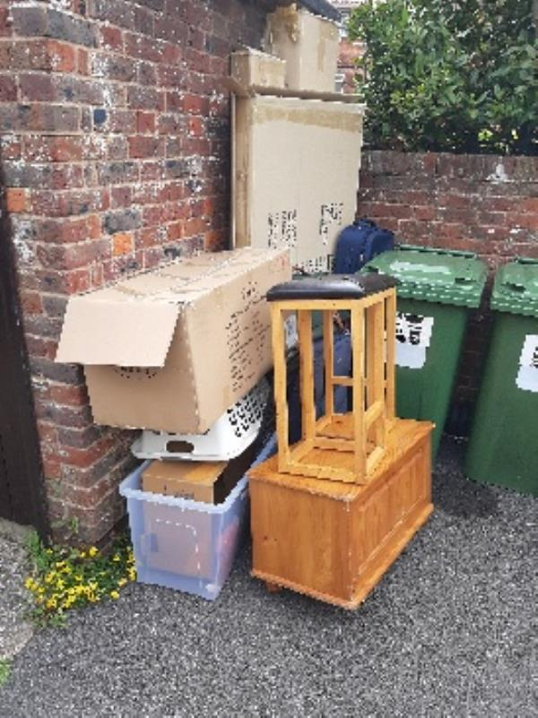 don ball homes first  rear of  Edinburgh court next to recycling  bins and shed, large amount of contaminated  cardboard, suite cases and wooden furniture -1 Whittle Dr, Eastbourne BN23 6QH, UK