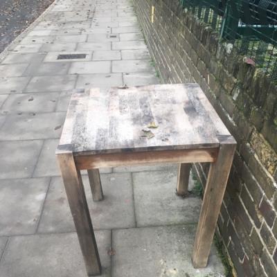 Table left outside shop -47 Wilton Way, London, E8 1BE
