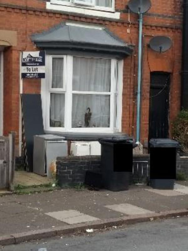 address has long-standing issues with fly tipping and rubbish. chest if drawers reported  fortnight ago, now computer screen and laundry dryer added on pavement-55 Dulverton Rd, Leicester LE3 0SQ, UK