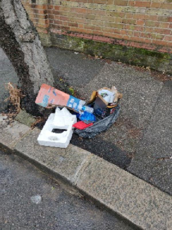 Rubbish dumped on corner of Farrant Avenue and Salisbury Road. I've cleaned it up but found a number plate in all the rubbish. -109 Farrant Ave, Noel Park, London N22 6PD, UK