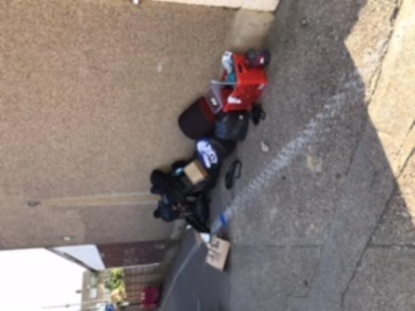 Fly tipping. Someone emptied their living room yesterday and today their kitchen. -131 Stokes Road, London, E6 3SF
