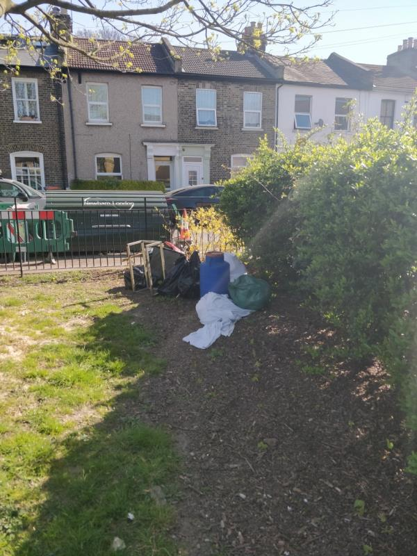 huge amounts of flytipping including mattresses, building waste and gas canisters dumped on both sides of the park.   please can you clear asap.   please can you install cameras and signs -100 Wellington Road, London, E7 9BP