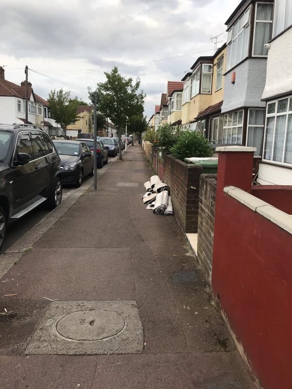 Carpet rolls flytipped outside 107 Dorset road -2 Charles Road, London, E7 8PT