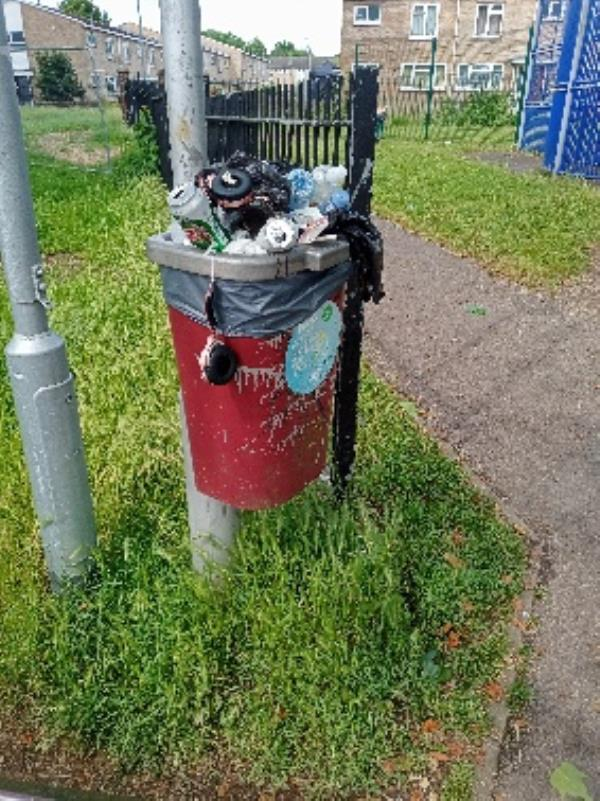 please empty bin by play park 203 Wensley Road-Irving Court, 203 Wensley Road, Reading, RG1 6EB