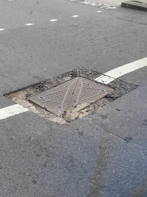 Manhole cover in centre of Montifchet Road E20 is causing problems with buses and rattling. Needs urgent repair.  -69 Montfichet Road, London, E15 1DB