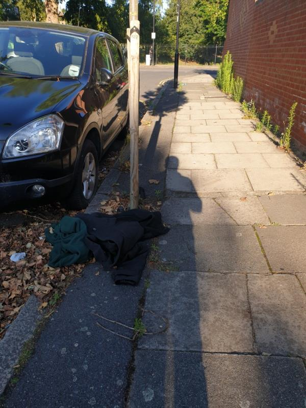 clothing dumped by tree-8 Knowsley Avenue, London, UB1 3AX