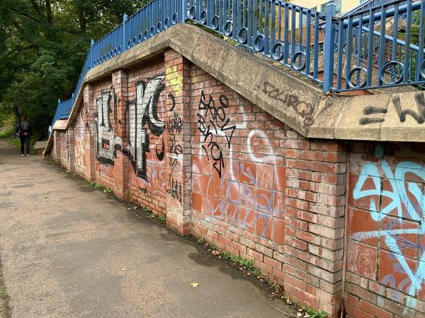 Graffiti on all the chairs and on Stonebridge image 2-New Wharf HALL of Residence, 42-48 Western Blvd, Leicester LE2 7BU, UK