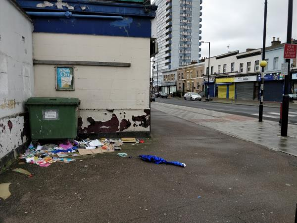 Flytipping at the corner of Leytonstone and Gurney Road E15-82 Leytonstone Road, London, E15 1SQ