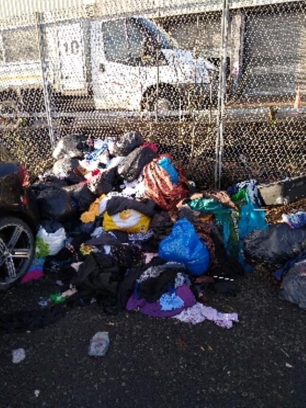Black bag fly tipping, clothes-Unit 2 Kennedy Road, Wolverhampton, WV10 0LL