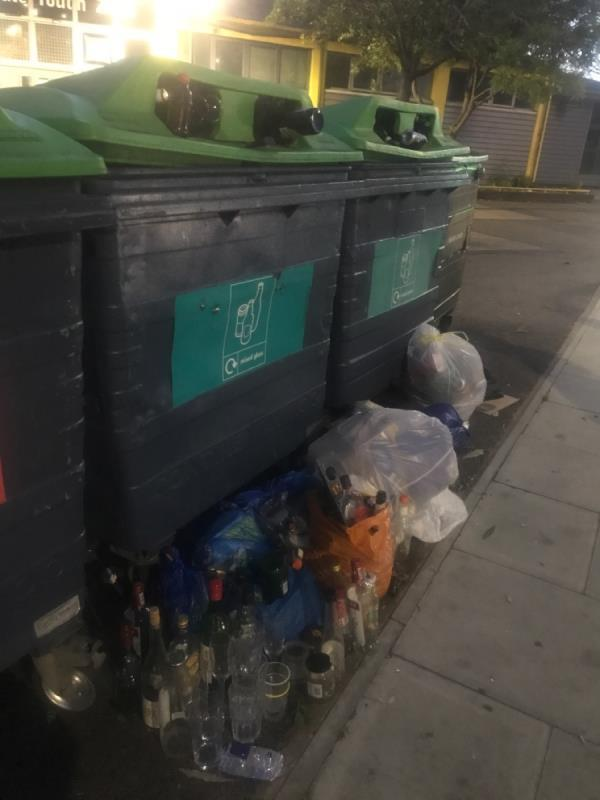 Glass bins overflowing. Had to put the glass on the floor by the bins. More glass bins for forest gate north in more location needed-3 Chestnut Avenue, London, E7 0JQ