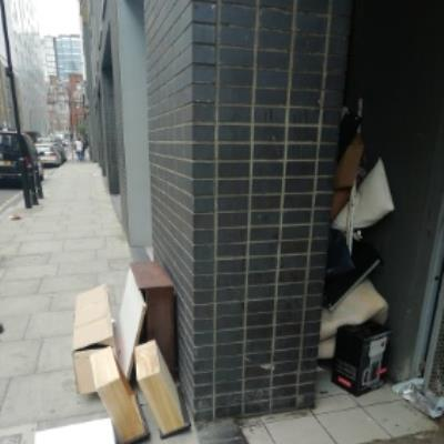 fly tipping at the flats at 117 Britannia walk n1 7je-32 Nile Street, London, N1 7LL