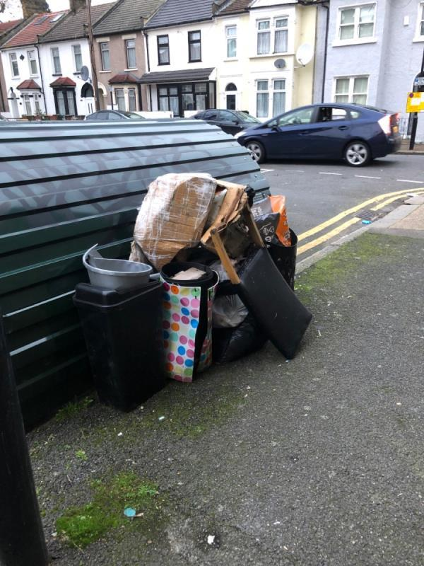 One day after the last waste being removed by the council and MORE waste has turned up, blocking the bike hangar once more. I can't access my bike. Please remove the waste ASAP before more arrives and PLEASE put a sign up to deter fly tippers from putting their rubbish here. -2 Spencer Road, East Ham, E6 1HH
