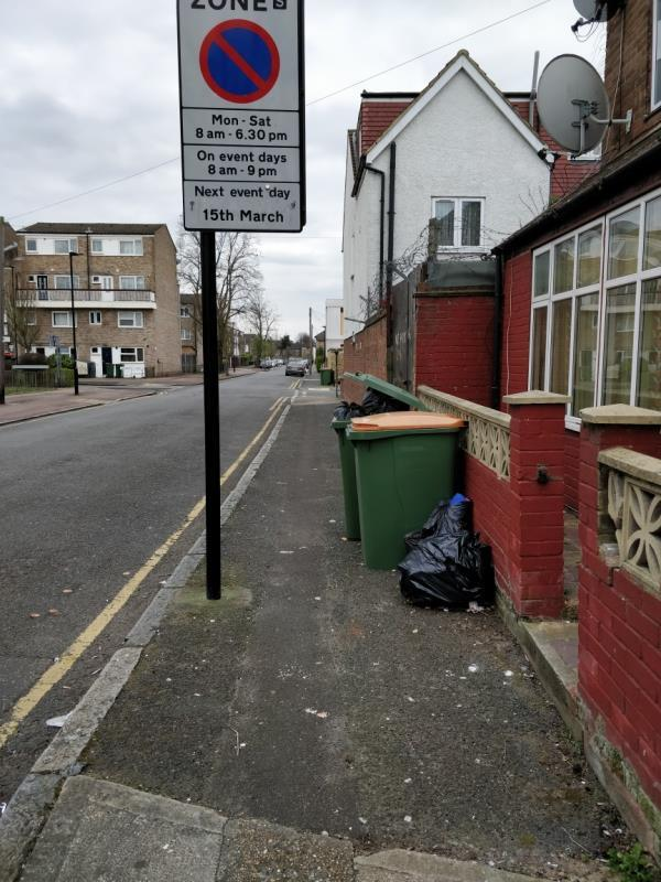Flytipping on the pavement in front of 56 Ash Road E15-56 Ash Road, London, E15 1QY