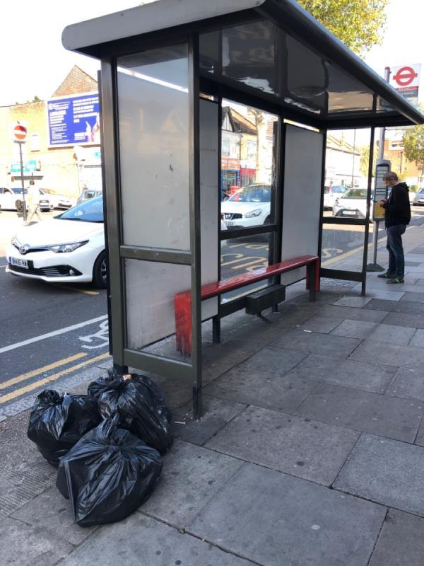 Rubbish on the street next to bus stop-222a Barking Road, East Ham, E6 3BB