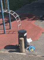 Residents keep on leaving household garbage in the playground bin on a daily basis. This includes alcohol glass bottles, which is dangerous for the kids playing around. Please help.-10 Ambleside Close, London, E9 6EP