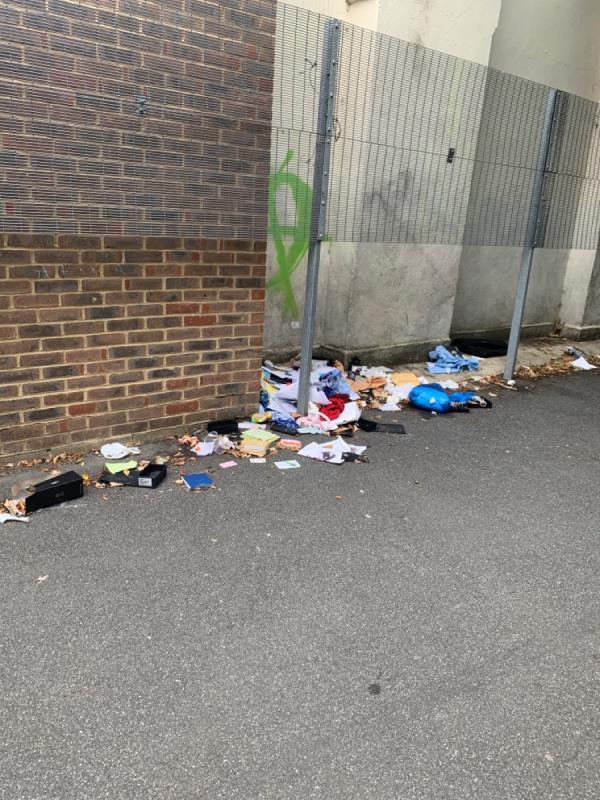 I reported this already and the case was closed but the rubbish is still there. -98 Colegrave Road, London, E15 1ED