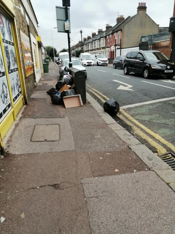 Black bags and rubbish left at top of fourth avenue. -746 Romford Rd, London E12 6BU, UK