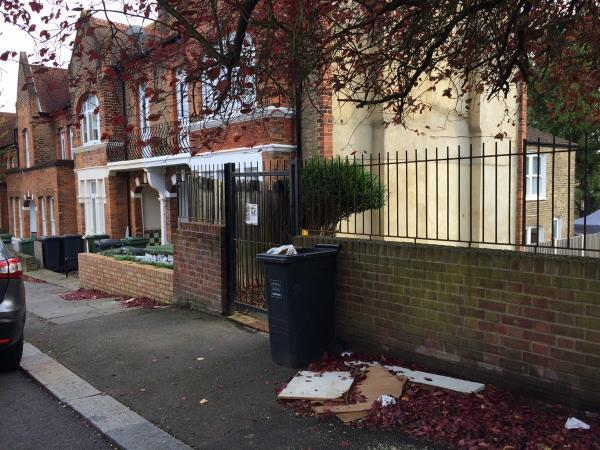 Please clear flytip from beside wheelie bin-22 Algiers Road, Lewisham, SE13 7JE