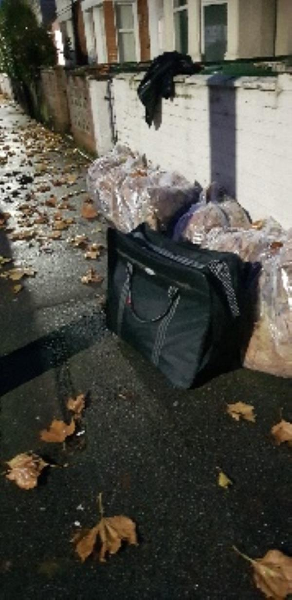if you leave bags out for a period of time then people will fly tip. when is newham  council going to come up with a proper strategy on fly tipping? -50 Elsenham Road, London, E12 6LA