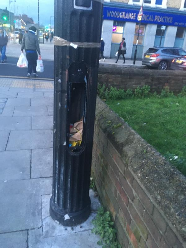 Redundant street light left like this for over a year. Now being used as a litter bin-Methodist Manse Woodgrange Road, London, E7 0QH