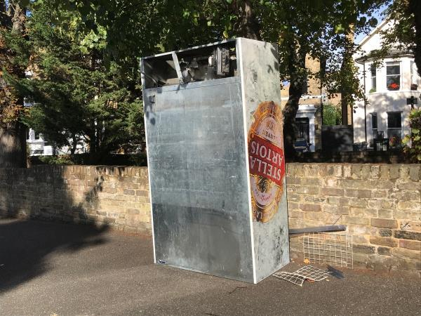 Please remove a industrial sized fridge from Clarendon Rise opposite car park jw Gilmore Road -27b Clarendon Rise, London, SE13 6BJ