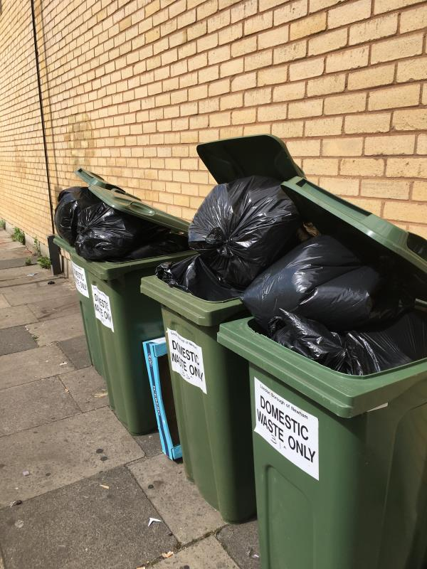 All bins are overflowing including ones in yard which are the flats bins this will mean fly tipping.