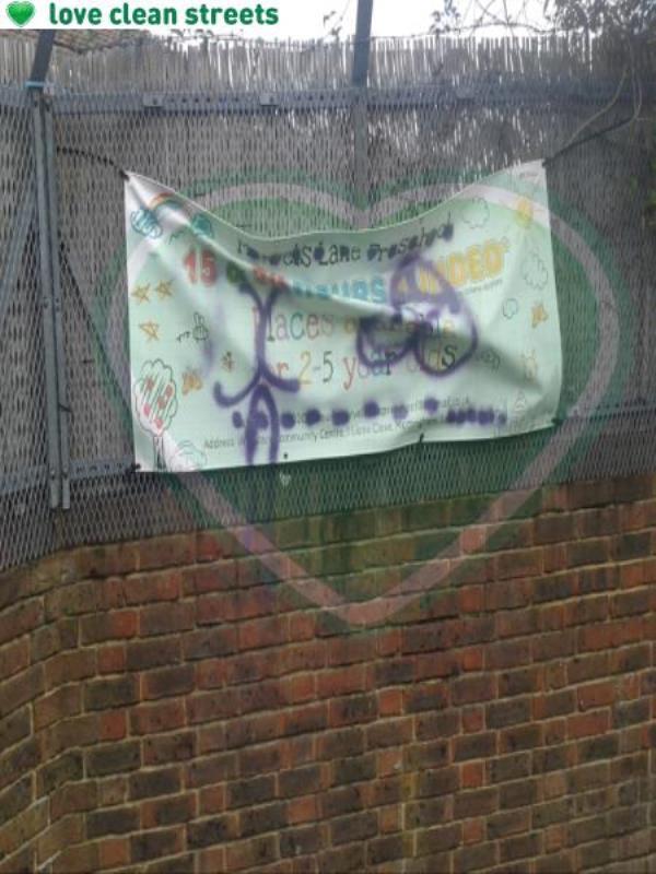 Marvels Lane pre school sign at rear of Wg Grace centre-69 Henry Cooper Way, London, SE9 4JG