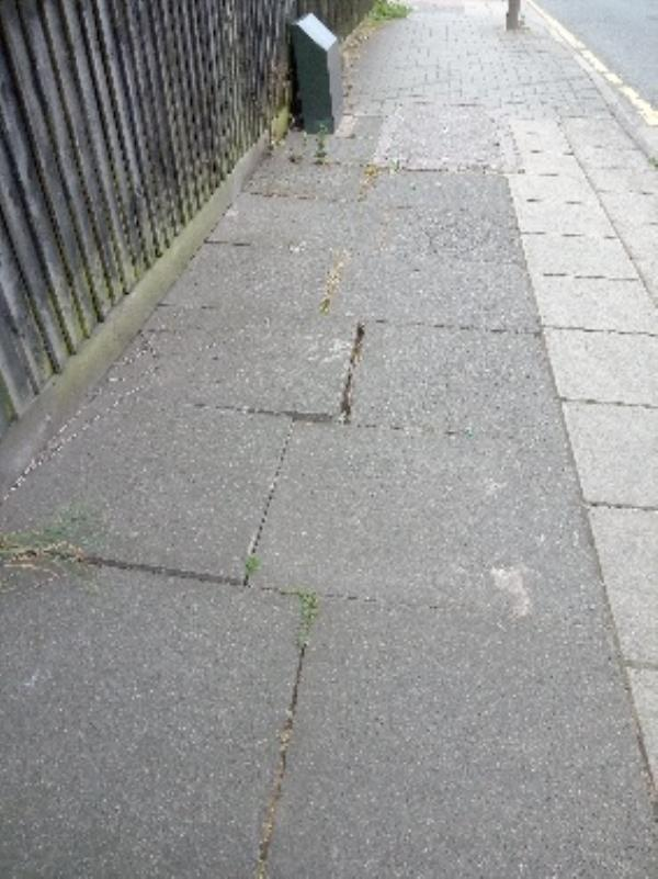 wonky/wobbly slabs opposite 12 Medina road-10 Medina Road, Leicester, LE3 9AY