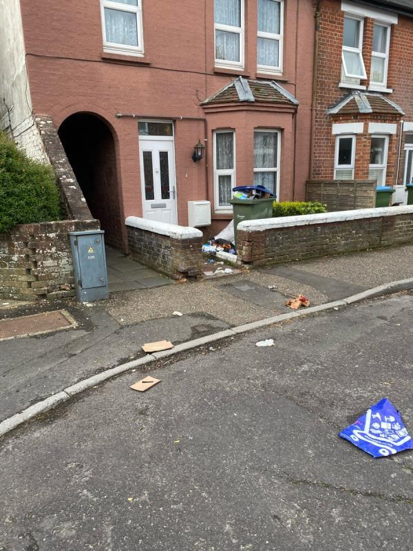 Rubbish all over the place. Gulls and wind getting into messy front of house. Busted bags and boxes. Small rodent seen foraging. Affecting alleyway, footpath & road-21 Linden Road, Littlehampton, BN17 7AH
