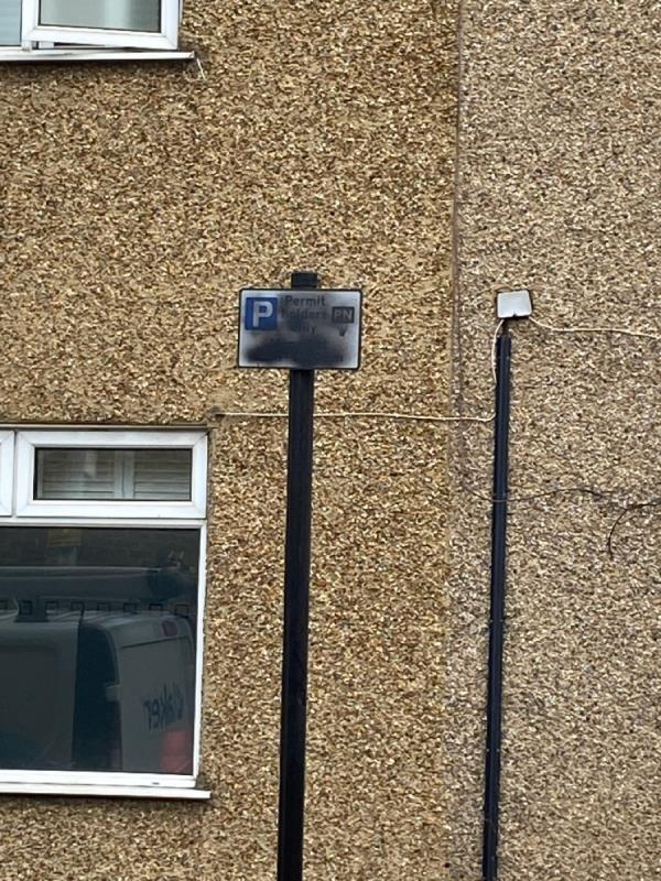 Parking sign painted out-54 Upper Road, Plaistow, E13 0DH