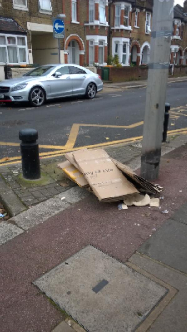 os 74 East Rd E15 : Cardboard boxes, broken ceramic vase-74 East Road, London, E15 3QR